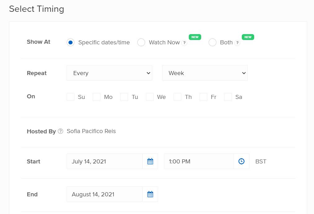 Timing for Automated Webinars in WebinarNinja